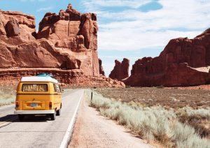 Start Now - campervan drives through the desert